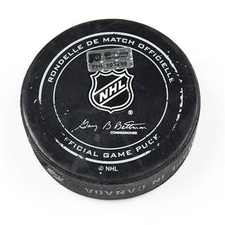 Philadelphia Flyers Game Used Puck April 7, 2016 vs. Toronto Maple