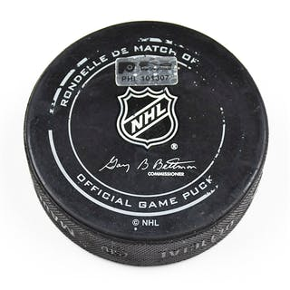 Philadelphia Flyers Game Used Puck April 9, 2016 vs. Pittsburgh Penguins