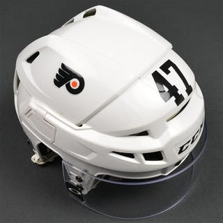 MacDonald, Andrew White CCM Helmet w/Visor Philadelphia Flyers 2015-16 #47