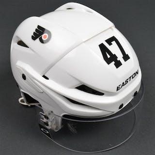 MacDonald, Andrew White Easton Helmet w/Visor Philadelphia Flyers 2015-16 #47