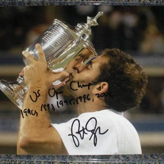 Sampras, Pete Autographed 8x10 with inscription of 2012