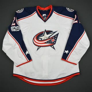 Quincey, Kyle White Set 2 w/ NHL Centennial Patch Columbus Blue Jackets