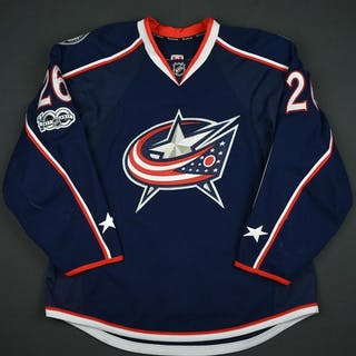 Quincey, Kyle Blue Set 2 w/ NHL Centennial Patch Columbus Blue Jackets