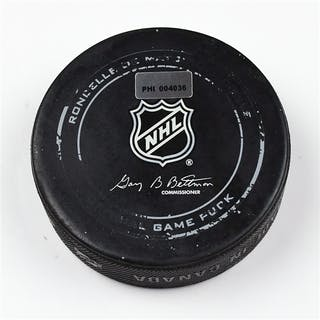 Philadelphia Flyers Game Used Puck * March 28, 2014 vs the Toronto