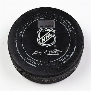 Philadelphia Flyers Game Used Puck * April 3, 2014 vs the Columbus