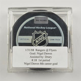 Dawes, Nigel * Goal Puck (Flyers Logo) - January 31, 2008 New York