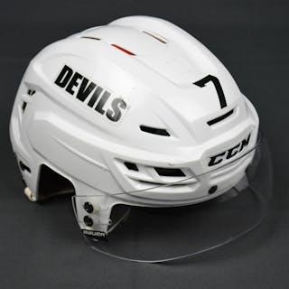 Merrill, Jon White, CCM Helmet w/ Bauer Shield New Jersey Devils 2014-15