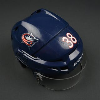Jenner, Boone Blue, CCM Helmet w/ CCM Shield Columbus Blue Jackets