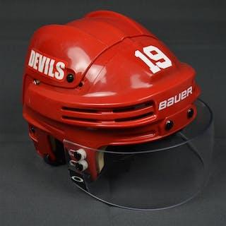 Zajac, Travis Red, Bauer Helmet w/ Oakley Shield New Jersey Devils 2013-14