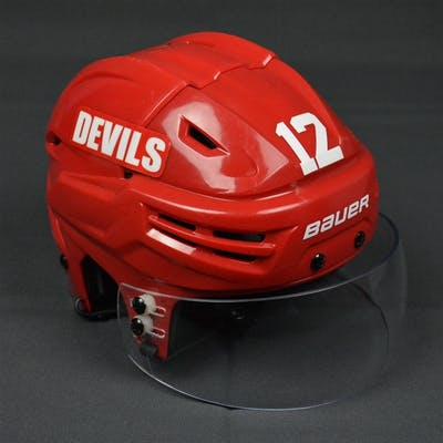 Brunner, Damien Red, Bauer Helmet w/ Shield New Jersey Devils 2013-14