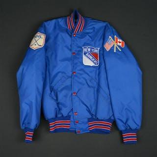 Blue Nylon Cosby Jacket - CLEARANCE New York Rangers Size: Medium