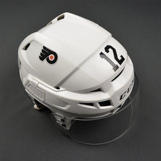 Raffl, Michael White CCM V08 Helmet Philadelphia Flyers 2016-17 #12 Size: Small