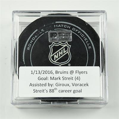 Streit, Mark January 13, 2016 vs. Boston Bruins (Flyers Logo) Philadelphia