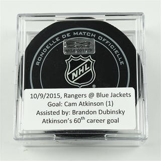 Atkinson, Cam October 9, 2015 vs. New York Rangers (Blue Jackets Logo)