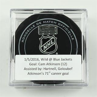 Atkinson, Cam January 5, 2016 vs. Minnesota Wild (Blue Jackets Logo)