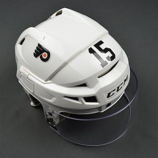 Del Zotto, Michael White CCM V08 Helmet Philadelphia Flyers 2016-17
