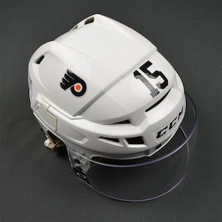 Del Zotto, Michael White CCM V08 Helmet Philadelphia Flyers 2015-16