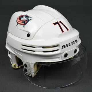 Foligno, Nick White, Bauer Helmet w/ Bauer Shield Columbus Blue Jackets