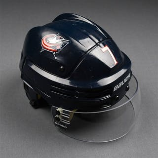 Johnson, Jack Blue, Bauer Helmet w/ Bauer Shield Columbus Blue Jackets
