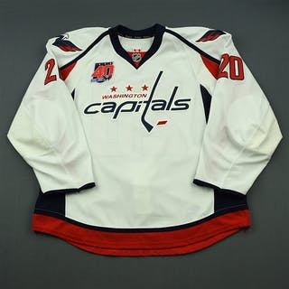 Brouwer, Troy White Set 2 w/40th Anniversary Patch Washington Capitals