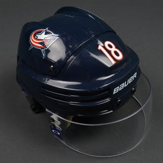 Bourque, Rene Blue, Bauer Helmet w/ Oakley Shield Columbus Blue Jackets