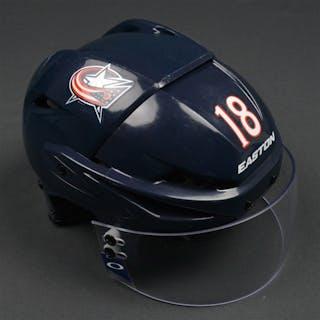 Bourque, Rene Blue, Easton Helmet w/ Oakley Shield Columbus Blue Jackets