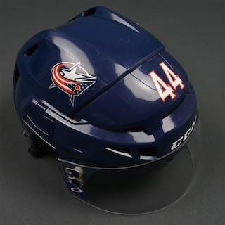 Falk, Justin Blue, CCM Helmet w/ Oakley Shield Columbus Blue Jackets
