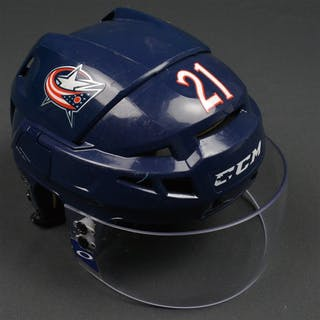 Rychel, Kerby Blue, CCM Helmet w/ Oakley Shield Columbus Blue Jackets