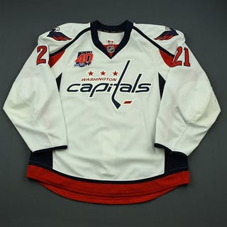 Laich, Brooks White Set 2 w/40th Anniversary Patch Washington Capitals
