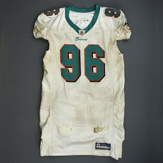 Soliai, Paul * White, Video-Matched Miami Dolphins 2011 #96 Size: 46