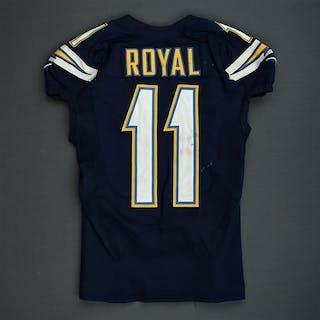 Royal, Eddie Navy - worn November 16, 2014 vs. Oakland Raiders San