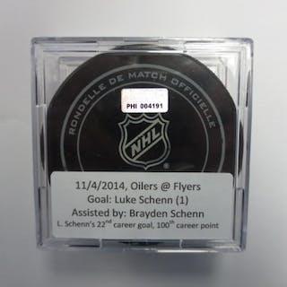 Schenn, Luke November 4, 2014 vs Edmonton Oilers (Flyers Logo) Philadelphia