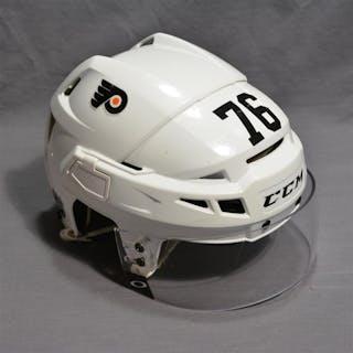 VandeVelde, Chris White CCM Helmet w/Visor Philadelphia Flyers 2014-15 #76