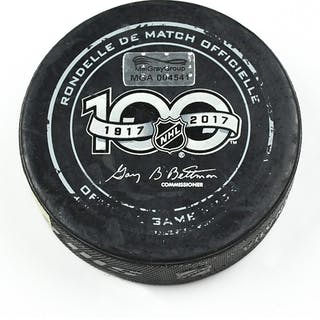 Columbus Blue Jackets Game-Used Puck February 13, 2017 vs. New York