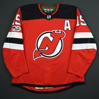 Zajac, Travis Red Set 1 w/A, w/ NHL Centennial Patch New Jersey Devils