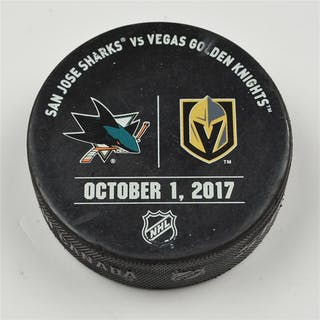 Vegas Golden Knights Warmup Puck October 1, 2017 vs. San Jose Sharks