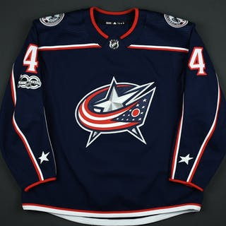 Harrington, Scott Blue Set 1 w/ NHL Centennial Patch Columbus Blue
