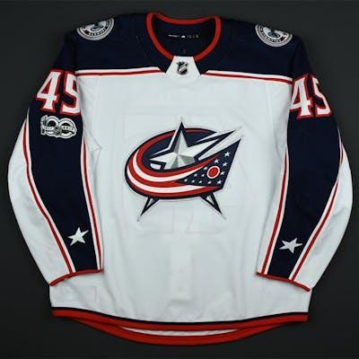 Sedlak, Lukas White Set 1 w/ NHL Centennial Patch Columbus Blue Jackets