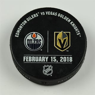 Vegas Golden Knights Warmup Puck February 15, 2018 vs. Edmonton Oilers 2017-18