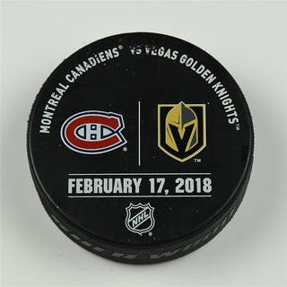 Vegas Golden Knights Warmup Puck February 17, 2018 vs. Montreal Canadiens