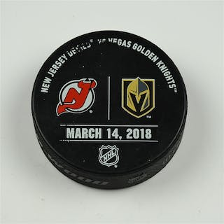 Vegas Golden Knights Warmup Puck March 14, 2018 vs. New Jersey Devils 2017-18