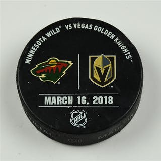 Vegas Golden Knights Warmup Puck March 16, 2018 vs. Minnesota Wild 2017-18