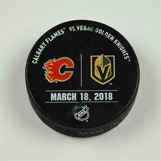 Vegas Golden Knights Warmup Puck March 18, 2018 vs. Calgary Flames 2017-18