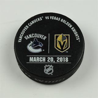Vegas Golden Knights Warmup Puck March 20, 2018 vs. Vancouver Canucks 2017-18