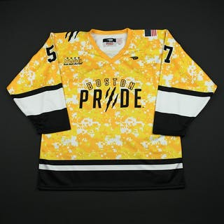 Mangene, Meagan Yellow Camo - Autographed Boston Pride 2015-16 #57 Size: L