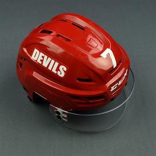 Merrill, Jon Red, CCM Helmet w/ Bauer Shield & NHL Centennial Sticker