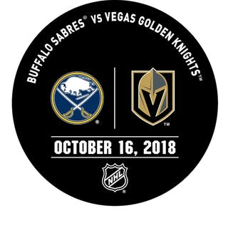 Vegas Golden Knights Warmup Puck October 16, 2018 vs. Buffalo Sabres 2018-19
