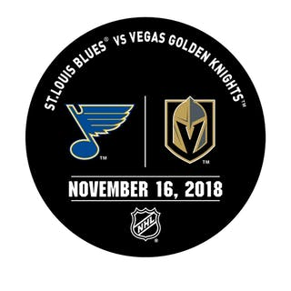 Vegas Golden Knights Warmup Puck November 16, 2018 vs. St. Louis Blues 2018-19