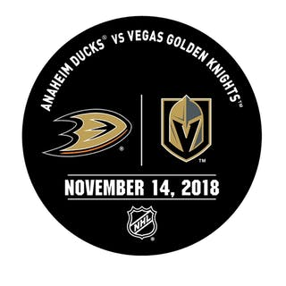 Vegas Golden Knights Warmup Puck November 14, 2018 vs. Anaheim Ducks 2018-19