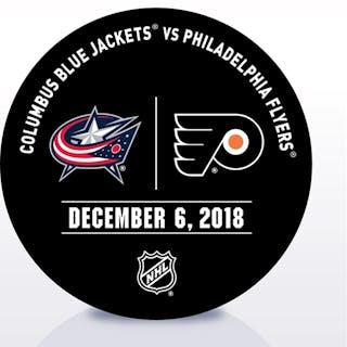 Philadelphia Flyers Warmup Puck December 6, 2018 vs. Columbus Blue